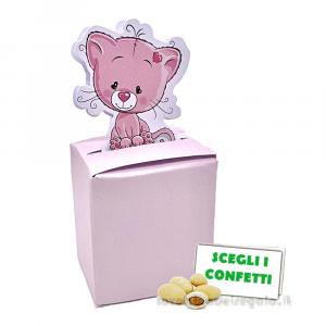 Portaconfetti Rosa con gattino 4.5x2.5x5 cm - Scatole battesimo bimba
