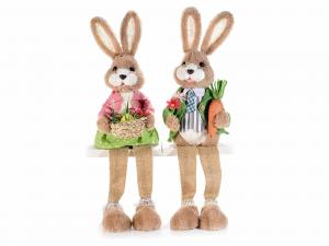 Coppia conigli gambelunghe con orecchie modellabili da appoggiare