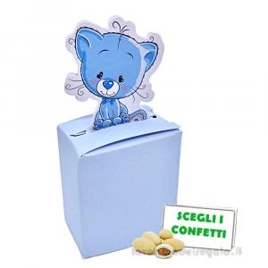 Portaconfetti Celeste con gattino 4.5x2.5x5 cm - Scatole battesimo bimbo