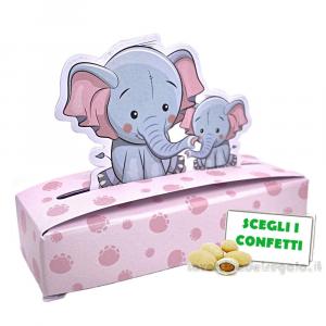 Portaconfetti Rosa con elefantino 10x3x2 cm - Scatole battesimo bimba
