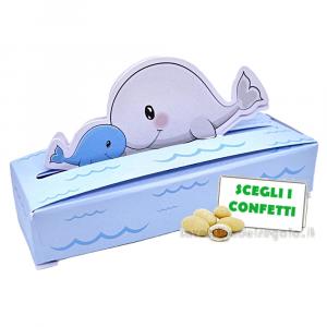 Portaconfetti Celeste con balena 10x3x2 cm - Scatole battesimo bimbo