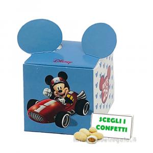Portaconfetti Mickey Go Azzurro Disney con orecchie 5x5x5 cm - Scatole battesimo bimbo