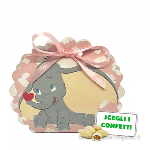 Borsa portaconfetti Rosa Dumbo Disney 5.8x4x8.5 cm - Scatole battesimo bimba