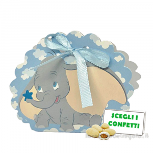 Borsa portaconfetti Celeste Dumbo Disney 5.8x4x8.5 cm - Scatole battesimo bimbo