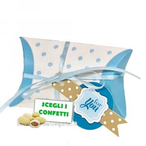 Bustina portaconfetti Celeste con targhetta For You 9x2.5x5.5 cm - Scatole battesimo bimbo