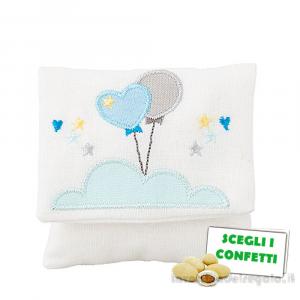 Bustina portaconfetti Celeste con palloncini 10x9.5 cm - Sacchetti battesimo bimbo