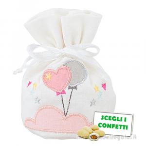 Portaconfetti Rosa con palloncini 7x11.5 cm - Sacchetti battesimo bimba