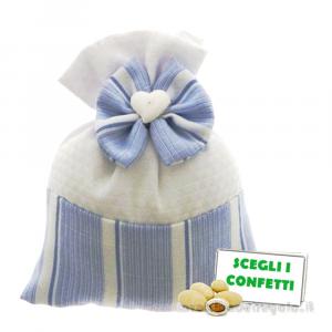 Portaconfetti Bianco e Celeste con cuoricino 9x11 cm - Sacchetti battesimo bimbo