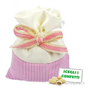 Portaconfetti Bianco e Rosa a righe con fiocco 10x13 cm - Sacchetti battesimo bimba