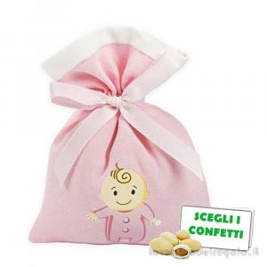 Portaconfetti Rosa con bimba 10x13 cm - Sacchetti battesimo bimba