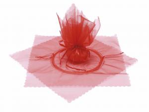 Tulle in organza con tirante base a stella e bordo onda rosso fragola