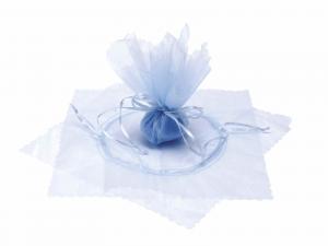 Tulle in organza con tirante base a stella e bordo onda azzurro baby