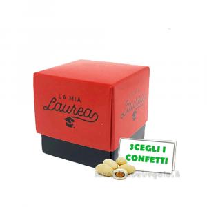 Portaconfetti Rosso e Nero per Laurea 5x5x5 cm - Scatole laurea