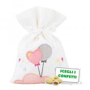 Portaconfetti Bianco con palloncini Rosa 10x14 cm - Sacchetti battesimo bimba