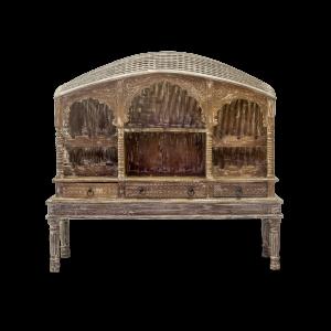 Libreria - Cantinetta porta-vino in legno di teak recuperato decapato in bianco