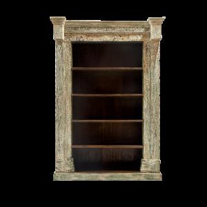 Libreria in legno di teak decapato bianco con colonne e capitelli recuperati