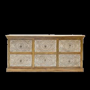 Cassettiera con 6 cassetti intagliati white in legno di palissandro indiano