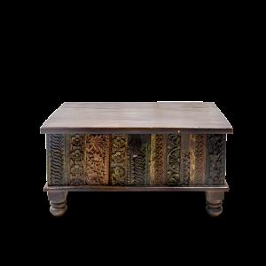 Baule in legno massello di teak con frontale recupero cornici vecchi palazzi