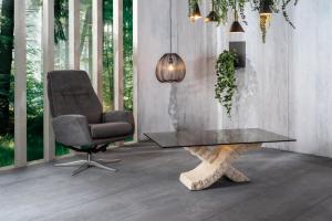 Tavolino da Salotto Xenon in Pietra FossilStone e Vetro