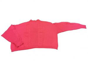 Maglia Maglioncino donna | collo lupetto | colore fuxia | motivo treccia | lana e viscosa | Made in Italy