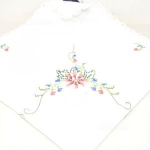 Doily Embroidered White With Flowers 80x80 Cm