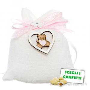 Portaconfetti Bianco con orsetto e fiocco Rosa 10x11 cm - Sacchetti battesimo bimba