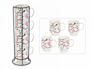 Set 4 tazze in porcellana Blooming Time in espositore in metallo