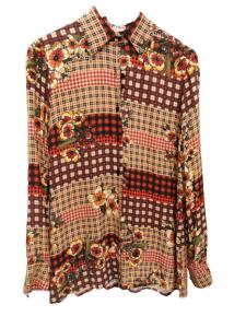 Camicia donna  fantasia texana  sui toni del beige  in cotone e viscosa   made in Italy