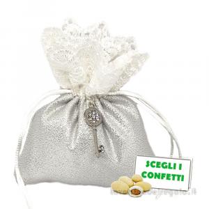 Portaconfetti Argento con chiave 25° Anniversario 10x12 cm - Sacchetti nozze d'argento