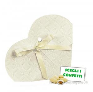 Portaconfetti Cuore decoro Matalassè 9x2.5x9 cm - Scatole bomboniere