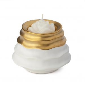 HERVIT - PORTACANDELA GRES BIANCO/ORO DIA.10X8CM con candela