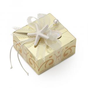 HERVIT - BOX CARAT GOLD 11X11X5,5CM STELLA MARINA C/5 CONFETTI IMBUSTATI