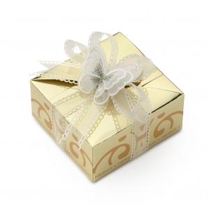 HERVIT - BOX CARAT GOLD 11X11X5,5CM FARFALLA C/5 CONFETTI IMBUSTATI