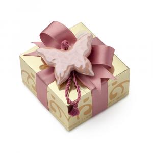 HERVIT - BOX CARAT GOLD 11X11X5,5CM FARFALLA ROSA C/5 CONFETTI IMBUSTATI