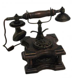 Telefono in legno scuro da arredo
