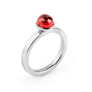 Anello tring - Romanticismo, Zircone rosso - 18