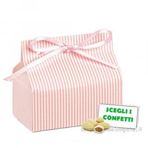 Portaconfetti Chic Mille Righe Rosa 7x4x3 cm - Scatole battesimo bimba