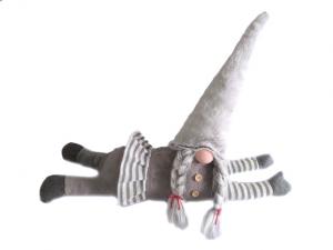 Gnoma sdraiata fermaporta cm 67 stoffa cappello grigio