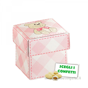 Portaconfetti Rosa a quadri con orsetto 5x5x5 cm - Scatole battesimo bimba
