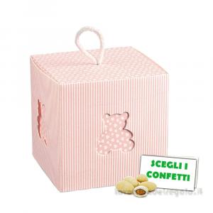 Portaconfetti Mille Righe Rosa con orsetto 10x10x10 cm - Scatole battesimo bimba