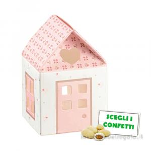 Portaconfetti Casetta Rosa linea Bloom 5x5x8 cm - Scatole battesimo bimba