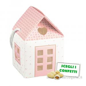 Portaconfetti Casetta Rosa linea Bloom 8x8x8 cm - Scatole battesimo bimba