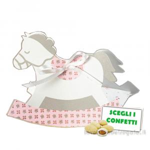 Portaconfetti Cavallo a Dondolo Rosa linea Bloom 12x3.5x9 cm - Scatole battesimo bimba