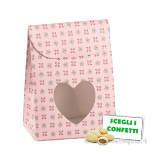 Portaconfetti bustina Rosa linea Bloom 6x3.5x8 cm - Scatole battesimo bimba
