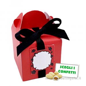 Portaconfetti scrigno Rosso e Nero per Laurea 5x5x5 cm - Scatole laurea