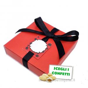 Portaconfetti Rosso e Nero per Laurea 8x8x2.5 cm - Scatole laurea