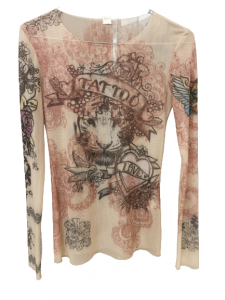 Maglia donna tulle stretch | color carne con motivo tatoo | Made in Italy