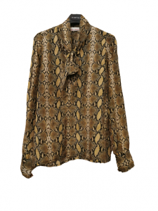 Camicia donna | fantasia leopardata | cotone | dettaglio fiocco sul collo | Made in Italy