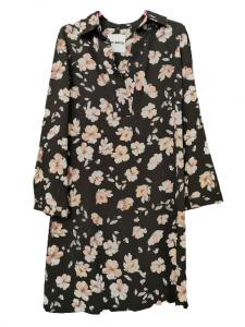 Abito camicia donna | viscosa | fantasia floreale | sfondo nero | manica lunga | collo a camicia | Made in Italy