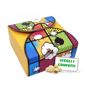 Portaconfetti Giallo stile Pop Art 5x5x2.5 cm - Scatole matrimonio